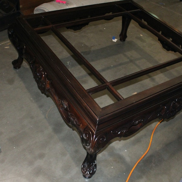 Ornate Square Coffee Table With Glass Topper Ebth