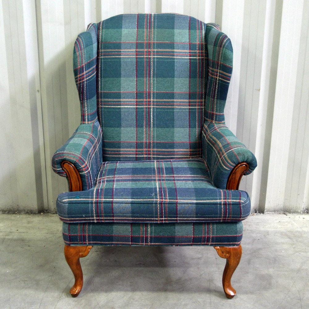 Vintage Plaid Wingback Chair ...