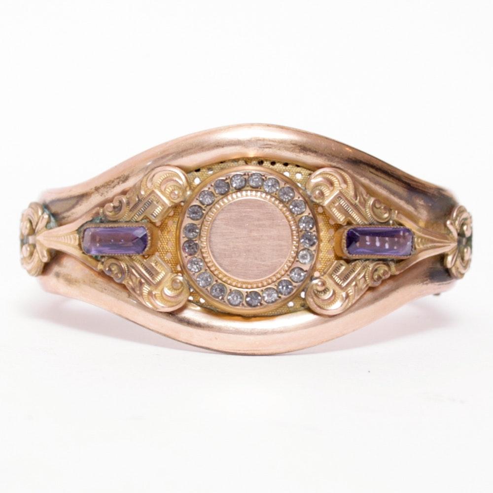 Antique Gold-Filled Amethyst Bangle Bracelet