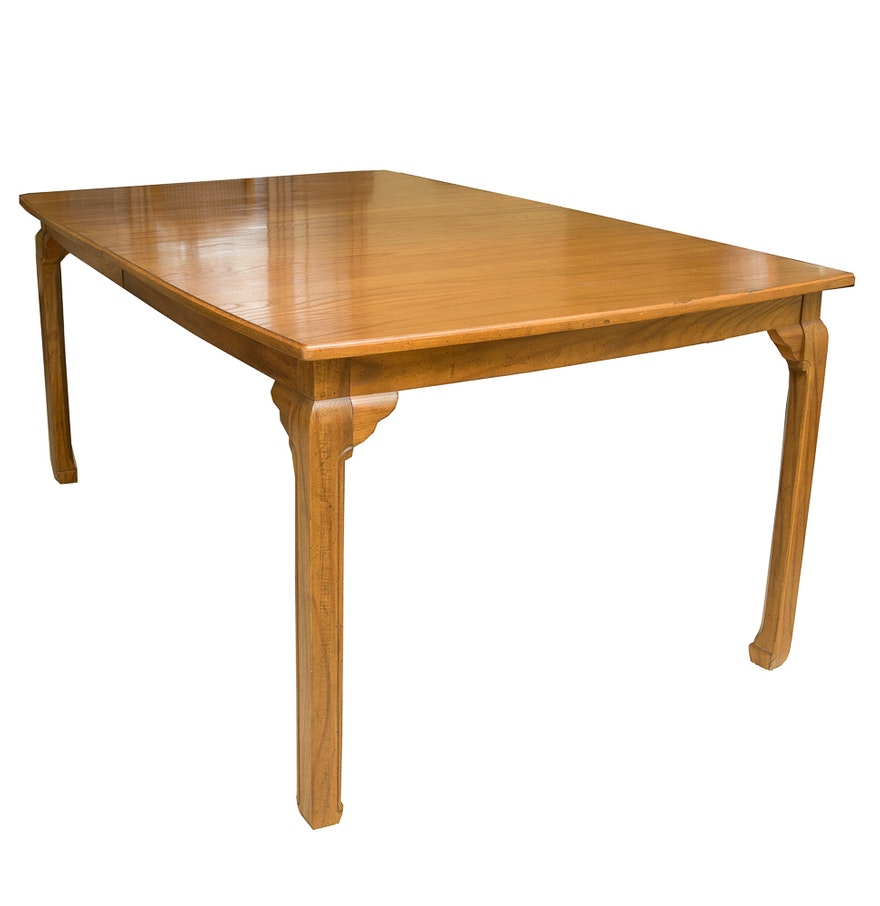 Vintage Davis Cabinet Co Teak Wood Dining Table With Two Extra Leaves