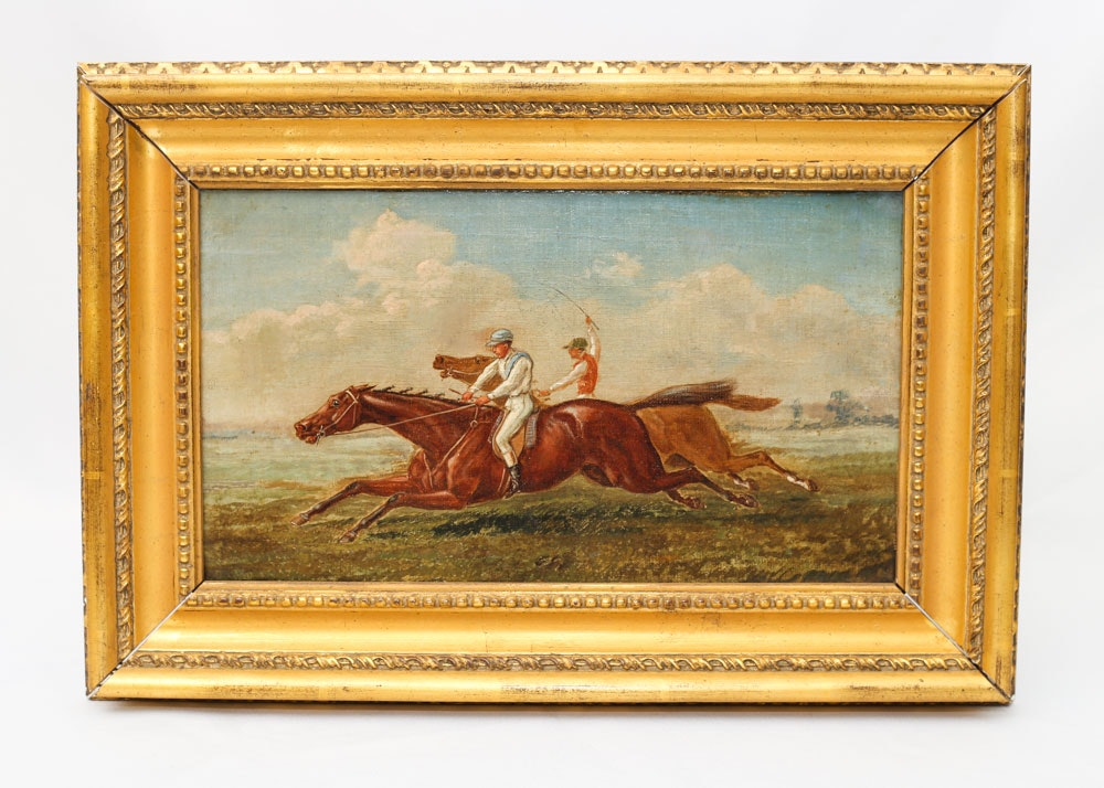 19th Century Painting of English Racehorses