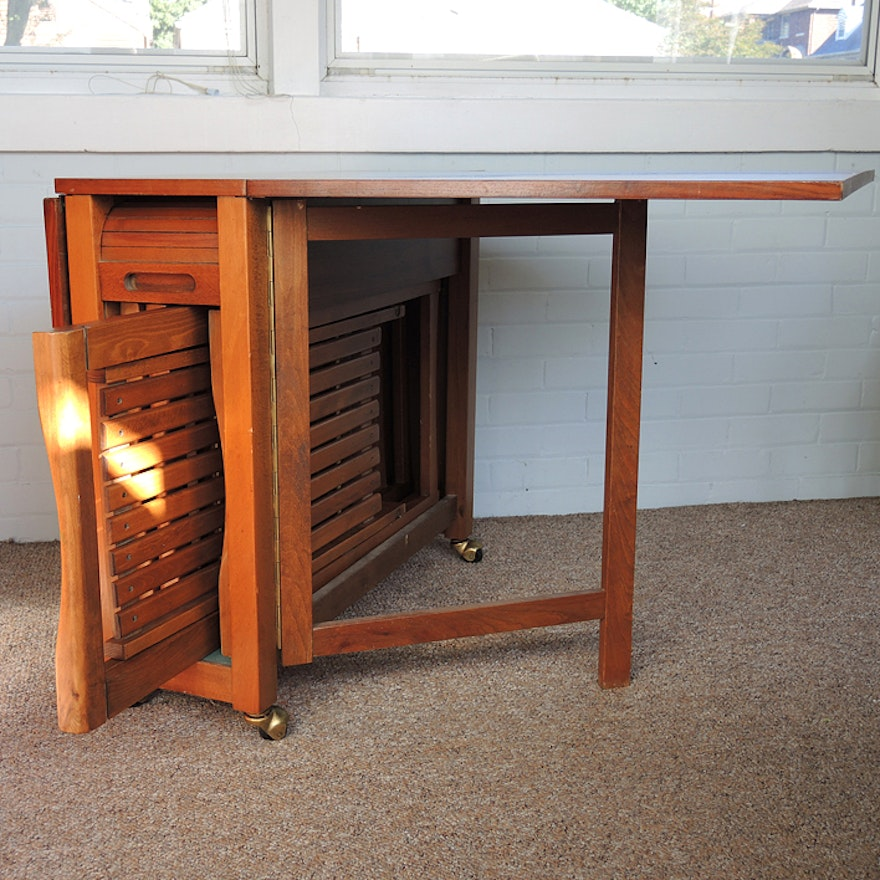 Portable Drop Leaf Table With Folding Chairs Ebth