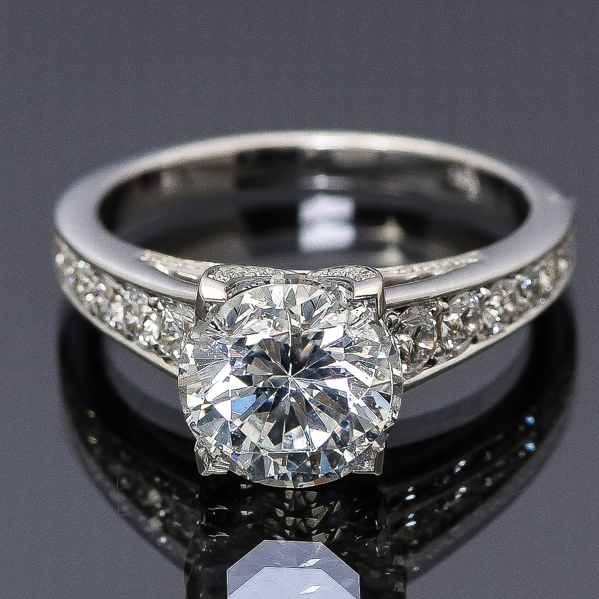 18K White Gold and 3.57 CTW Diamond Cathedral Style Engagement Ring