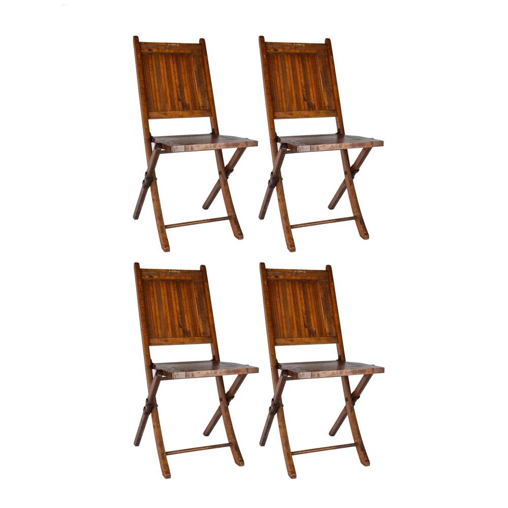 Set of Antique Oak Folding Picnic Chairs