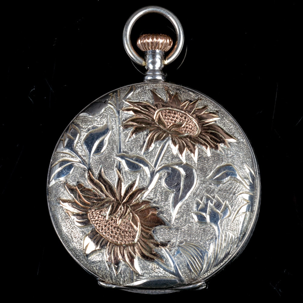 14K Rose Gold and Coin Silver Longines Pocket Watch Circa 1917