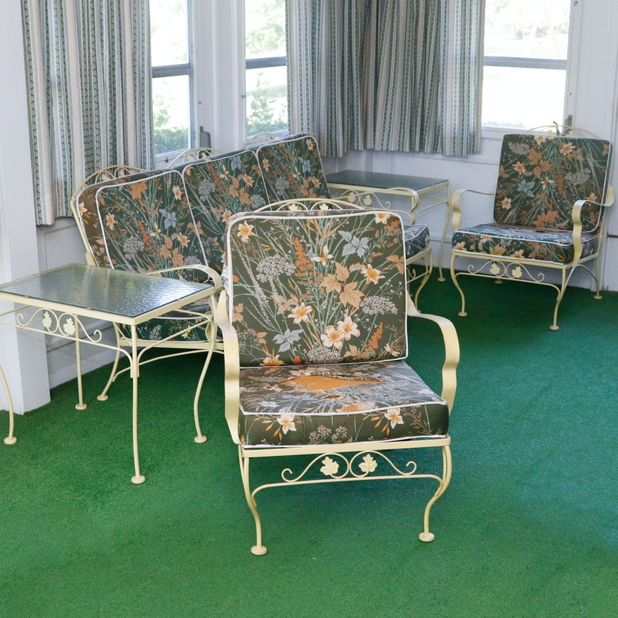 Meadowcraft White Wrought Iron Furniture Set with Cushions : EBTH