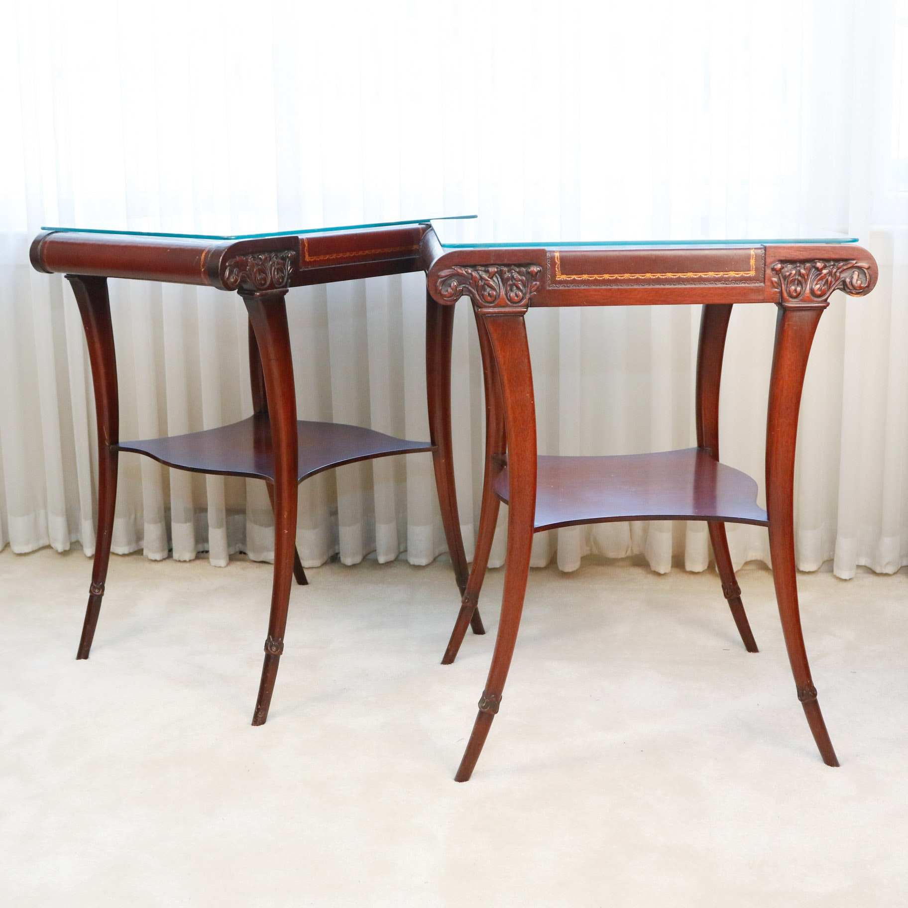 Zangerle And Peterson Mahogany And Tooled Leather End Tables ...