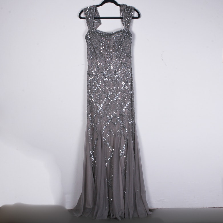 Adrianna Papell Beaded and Sequin Evening Dress