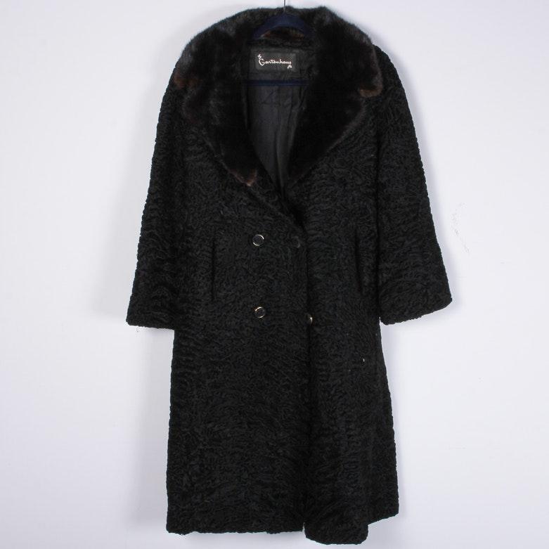Gartenhaus Lamb Fur Coat with Mink Collar