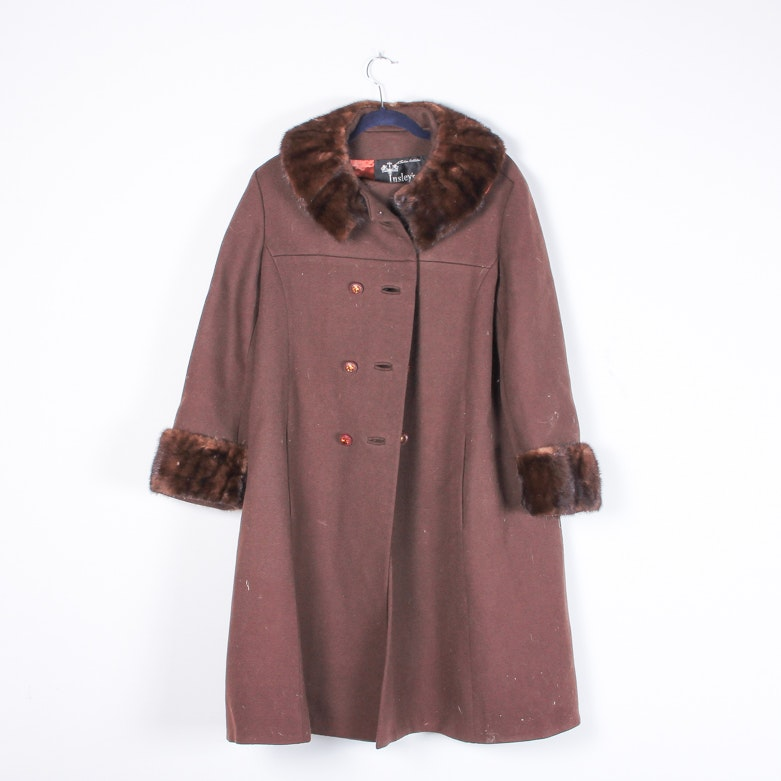 Vintage Insley's Brown Fur Coat with Mink Collar and Cuffs