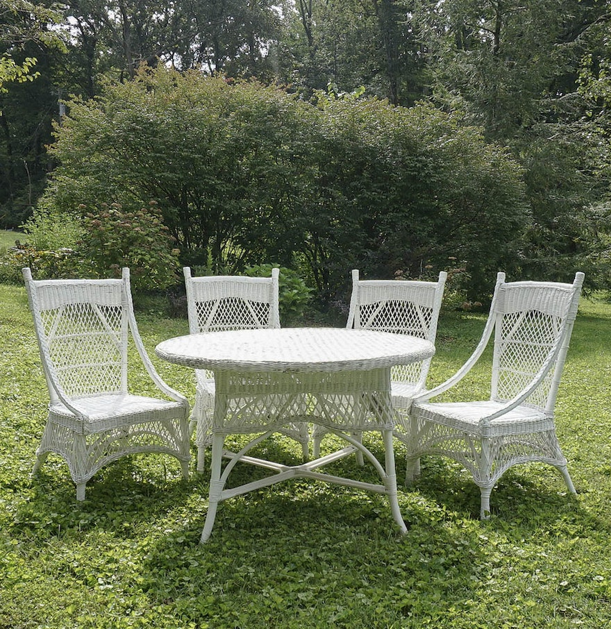 Vintage Victorian Style White Wicker Dining Table And Four