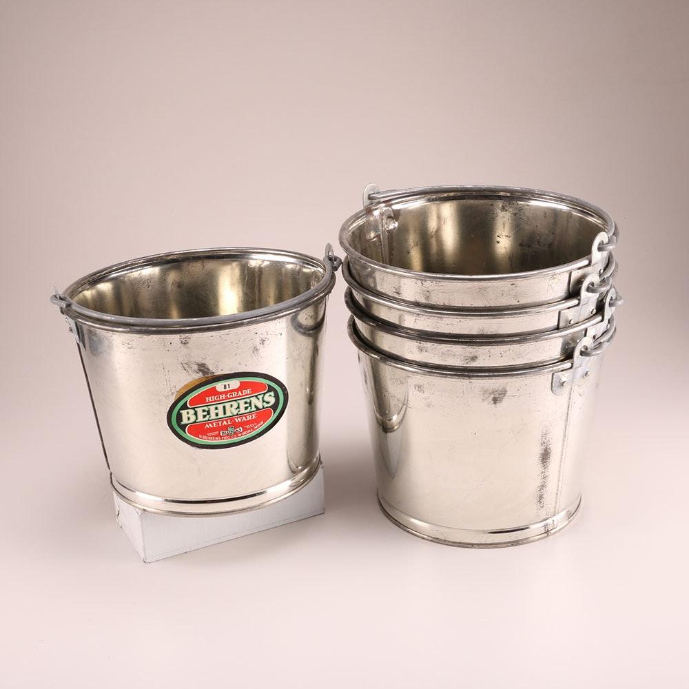 set of vintage behrens metal buckets