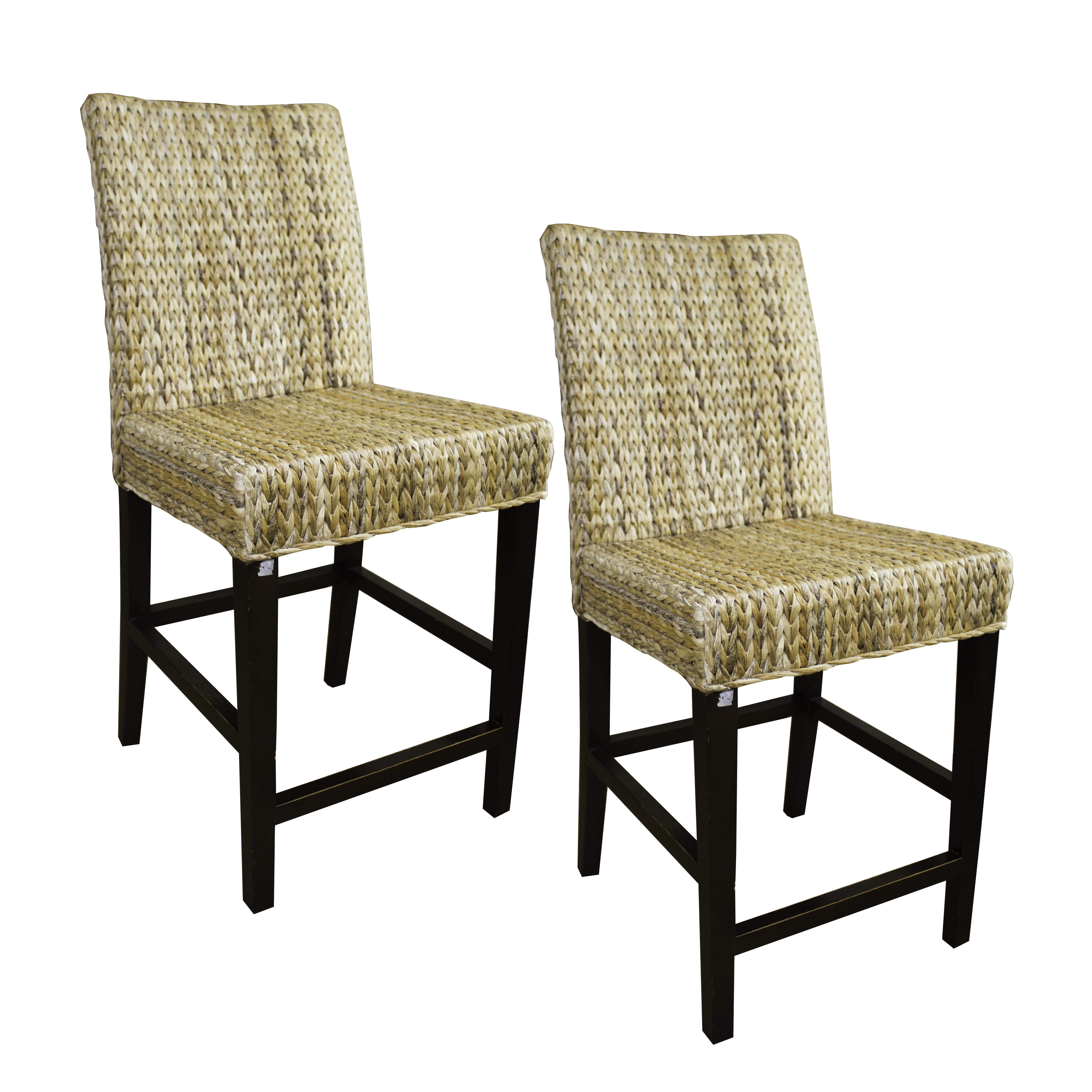 Pair Of Seagrass Counter Height Chairs ...