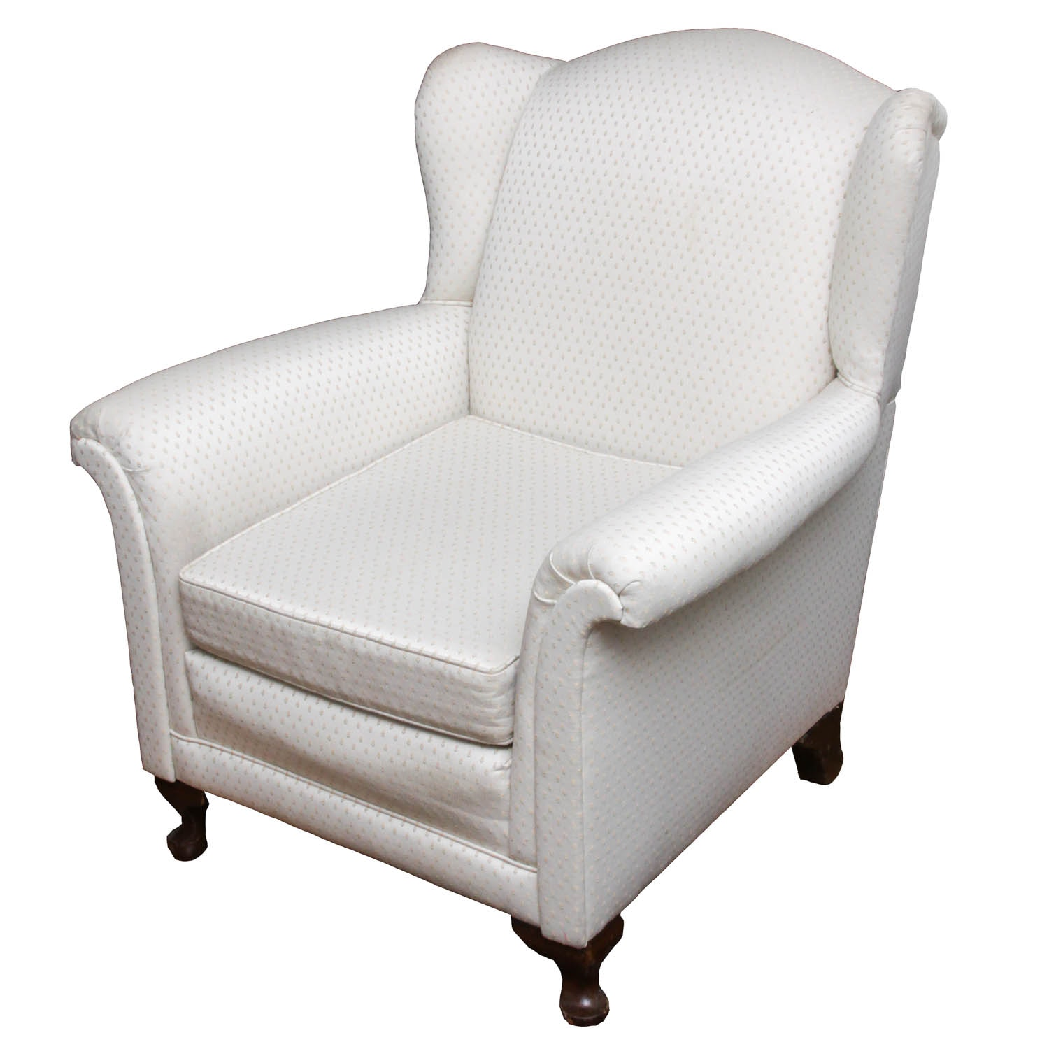 White Upholstered Wing Back Armchair