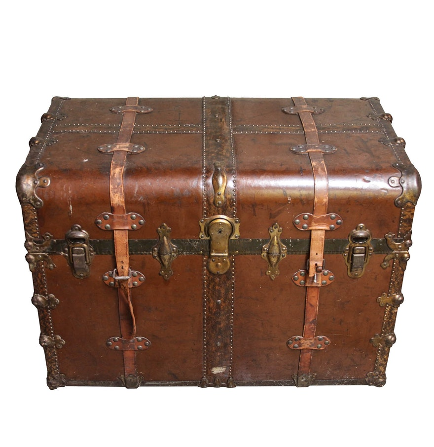 Leather Steamer Trunk 75
