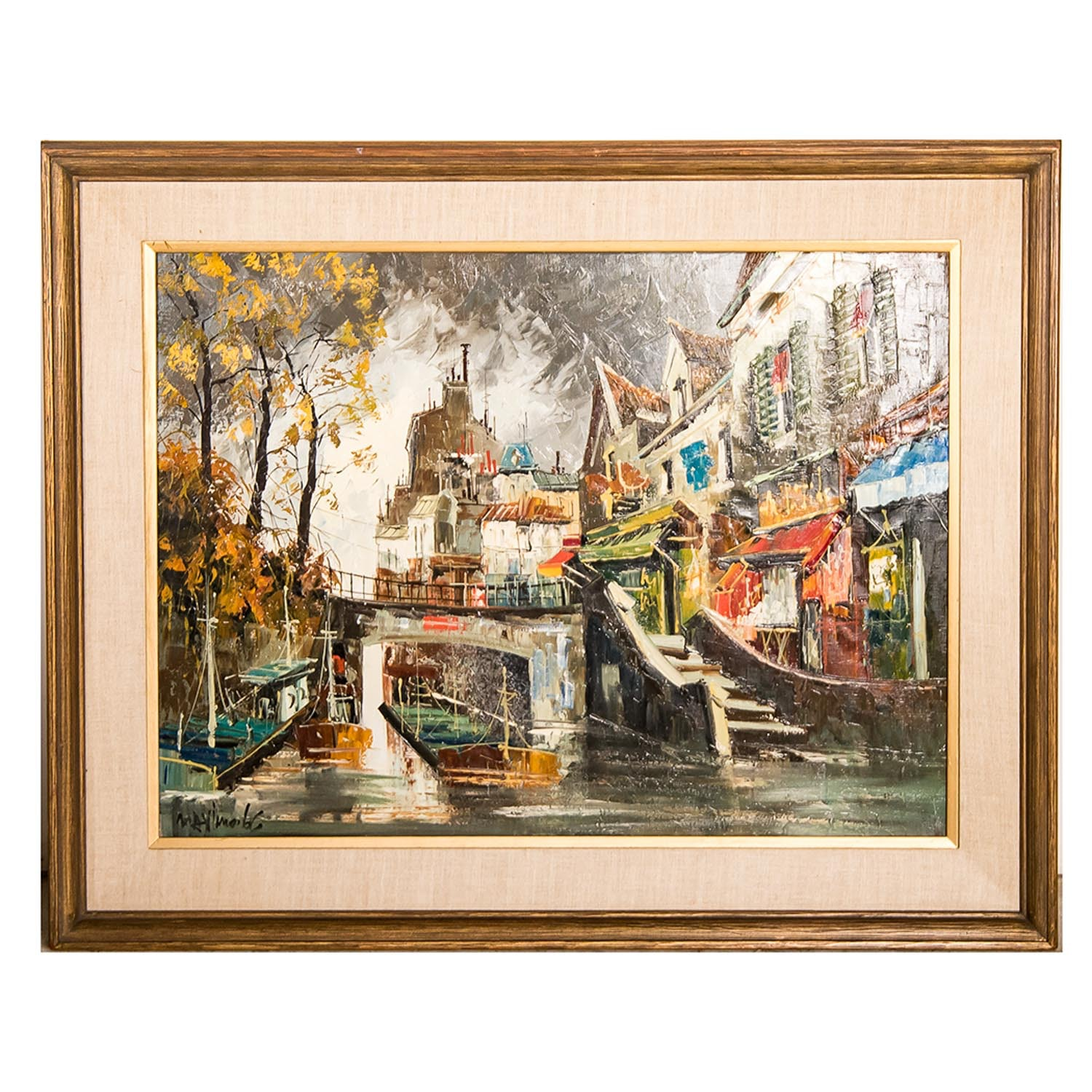 Signed Paris Street Scene Painting on Canvas