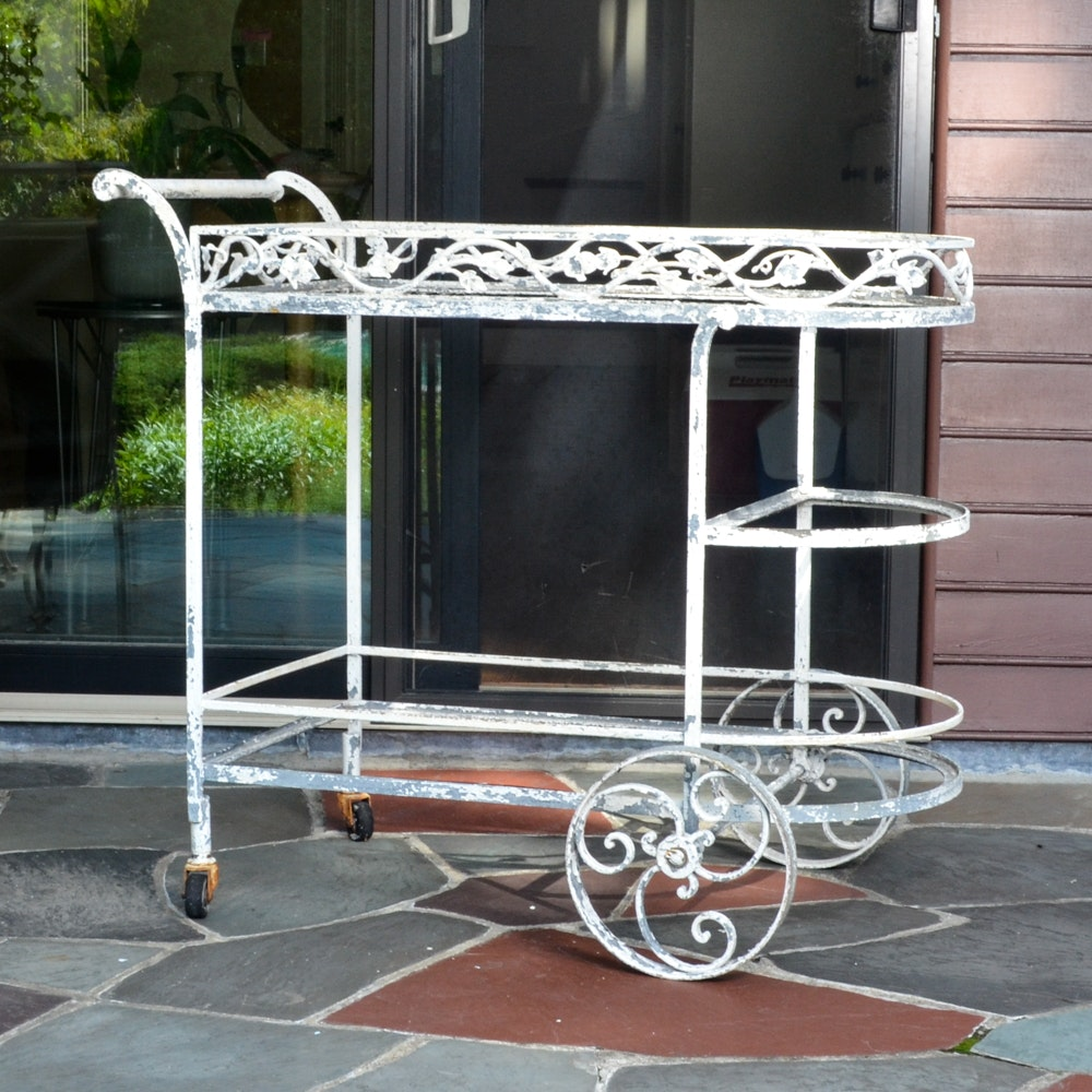 Vintage Wrought Iron Patio Bar Cart ...