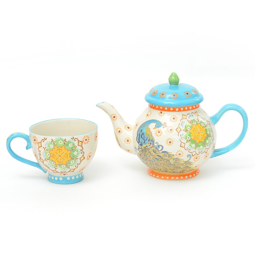artistic accents tea pot with matching cup  ebth - artistic accents tea pot with matching cup