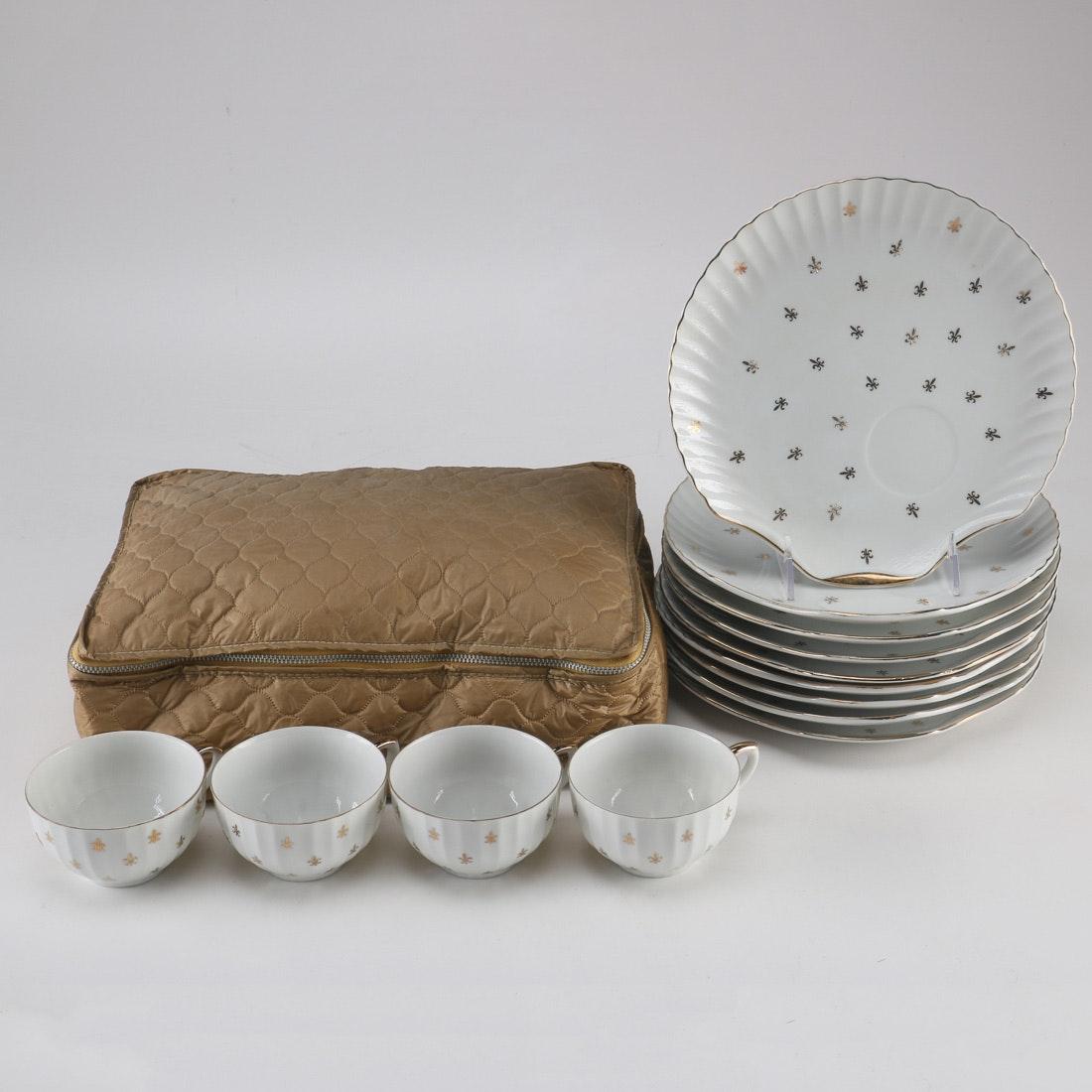 Lefton China Fleur De Lis Snack Plate and Cup Set ... & Lefton China Fleur De Lis Snack Plate and Cup Set : EBTH