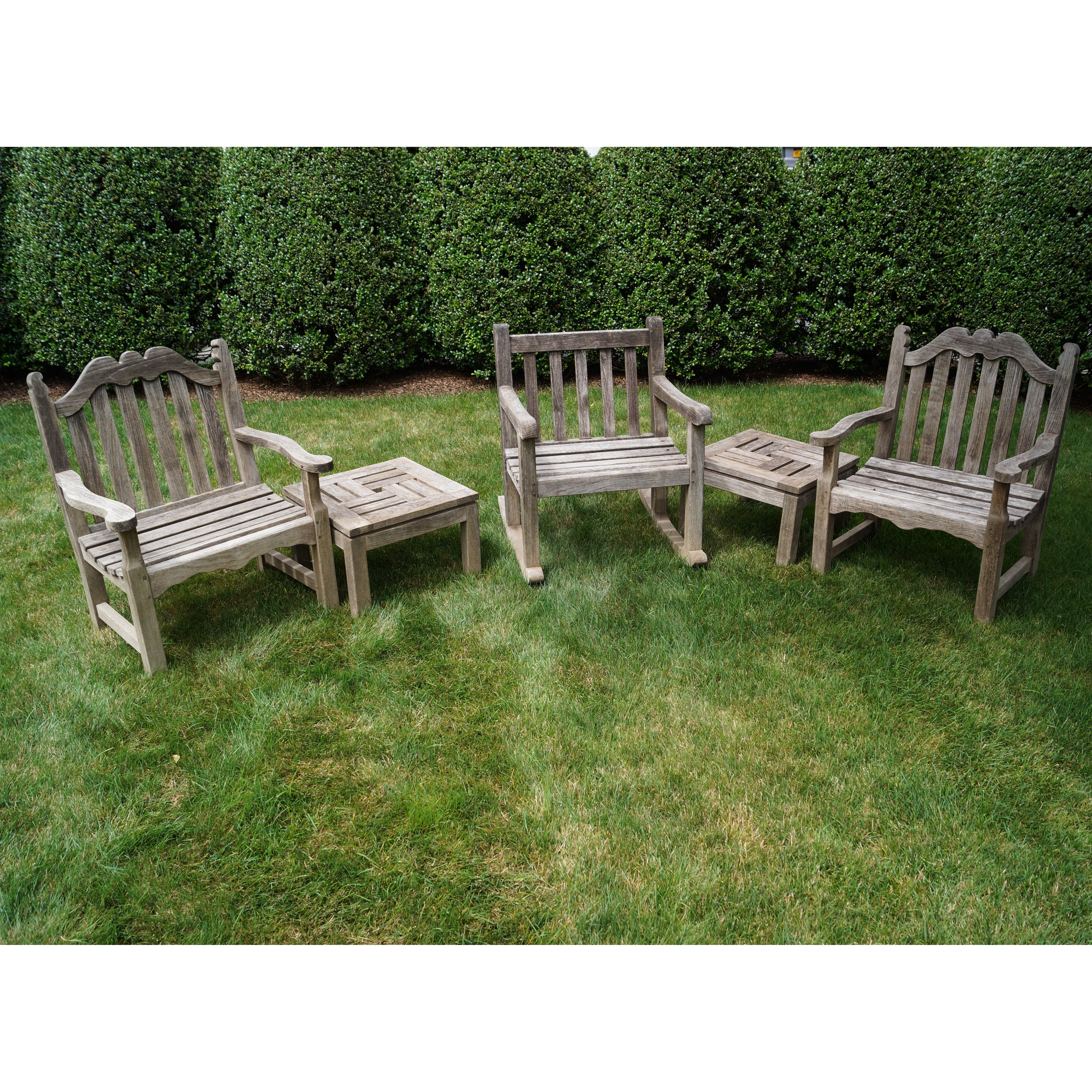 Five Piece Collection Of Lister Teak Wood Outdoor Furniture ...