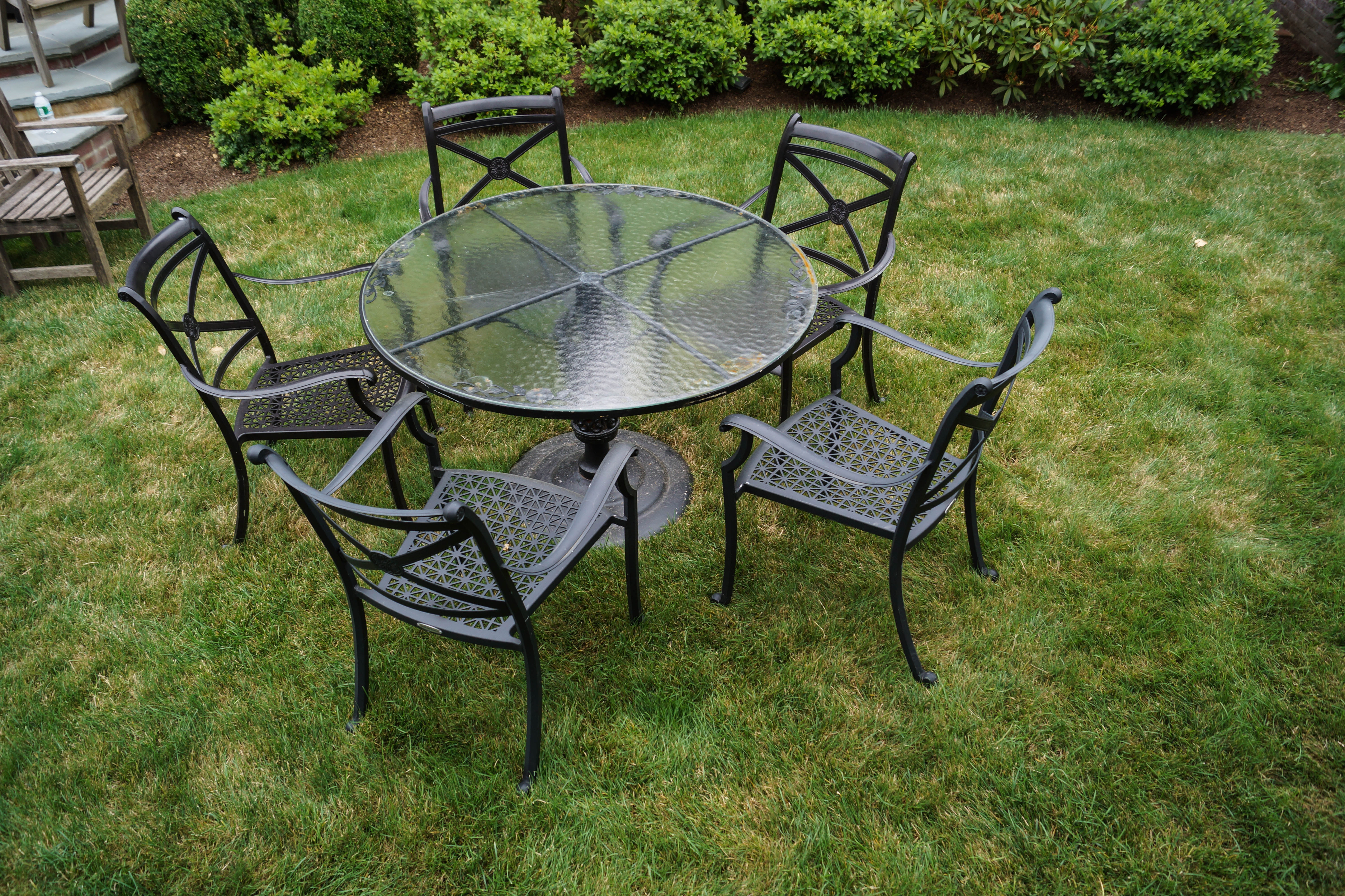 Smith & Hawken Outdoor Glass Topped Iron Table with Chairs EBTH