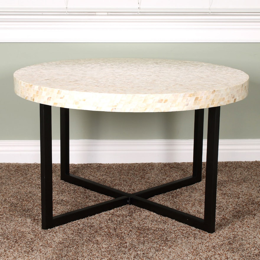 Pier 1 Imports Mother Of Pearl Round Coffee Table Ebth