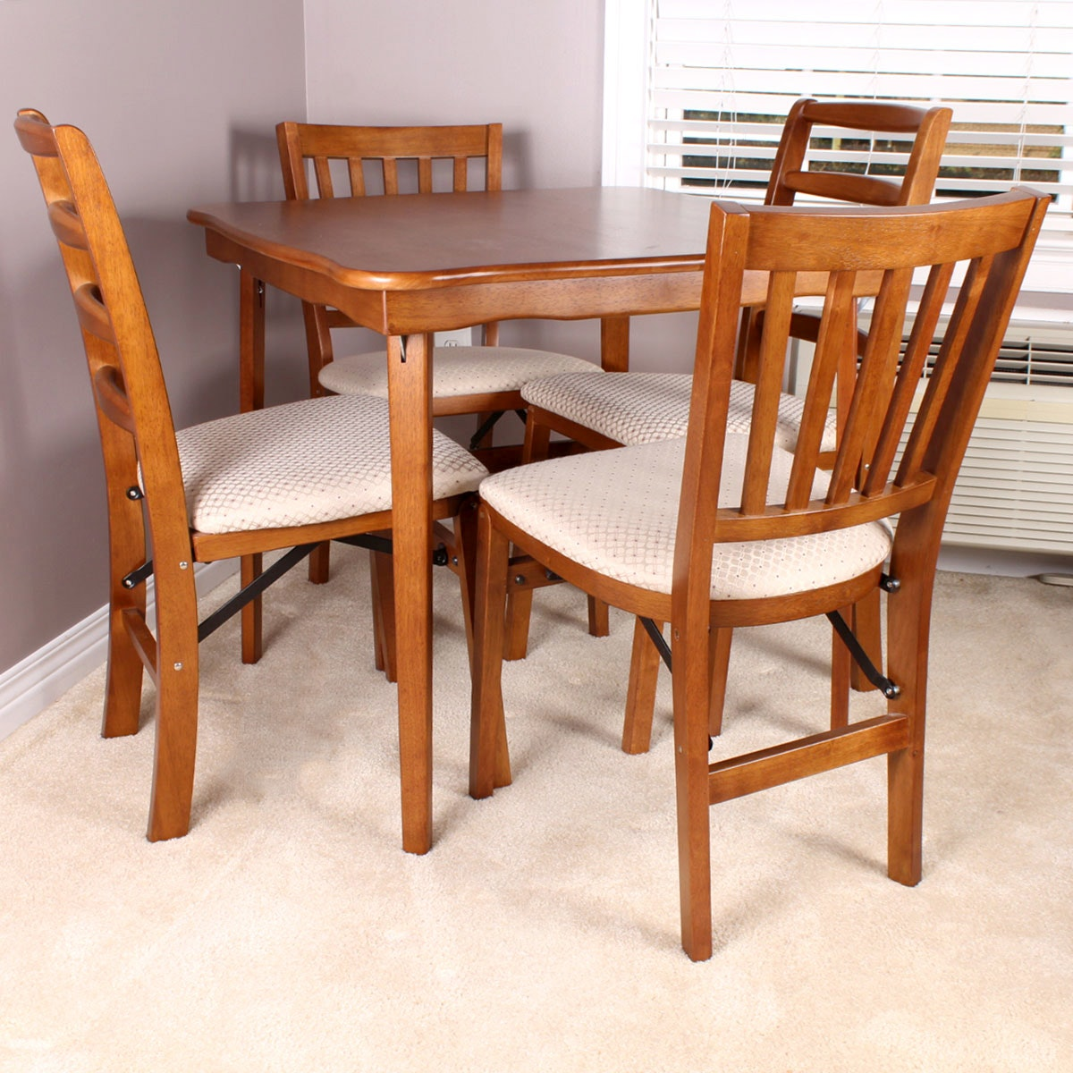stakmore folding chairs and table ebth