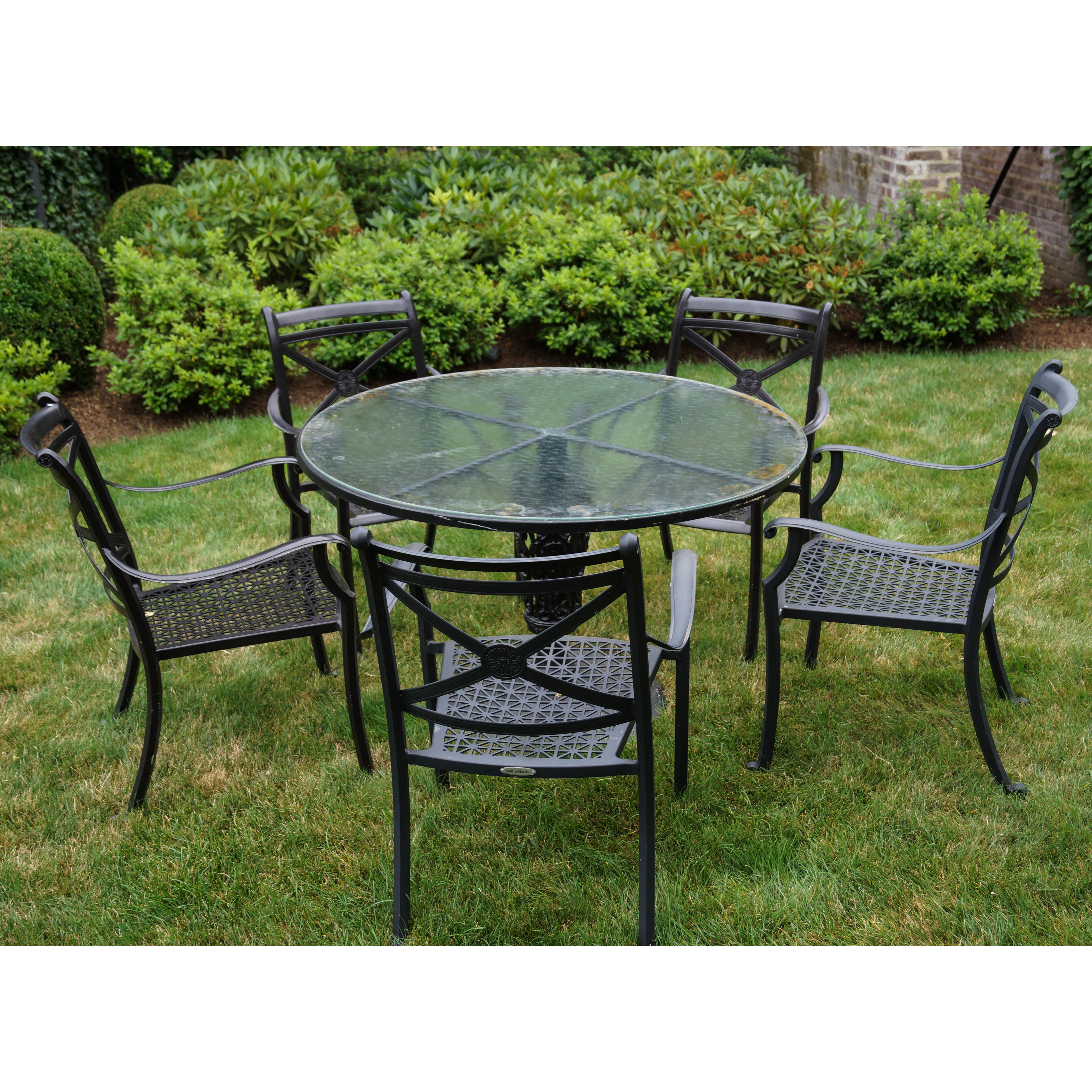 Smith & Hawken Outdoor Glass Topped Iron Table with Chairs