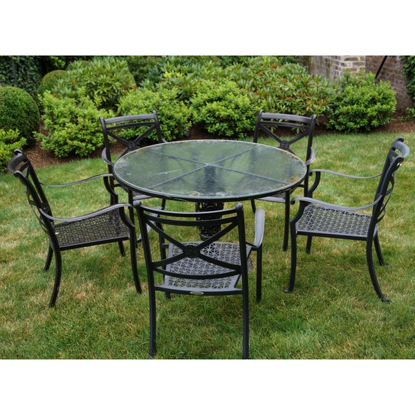 Smith Hawken Outdoor Glass Topped Iron Table With Chairs