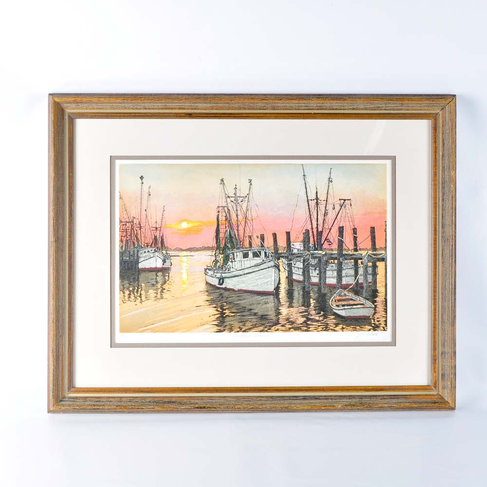 John Collette Quot Carolina Sunset Quot Hand Tinted Intaglio Print