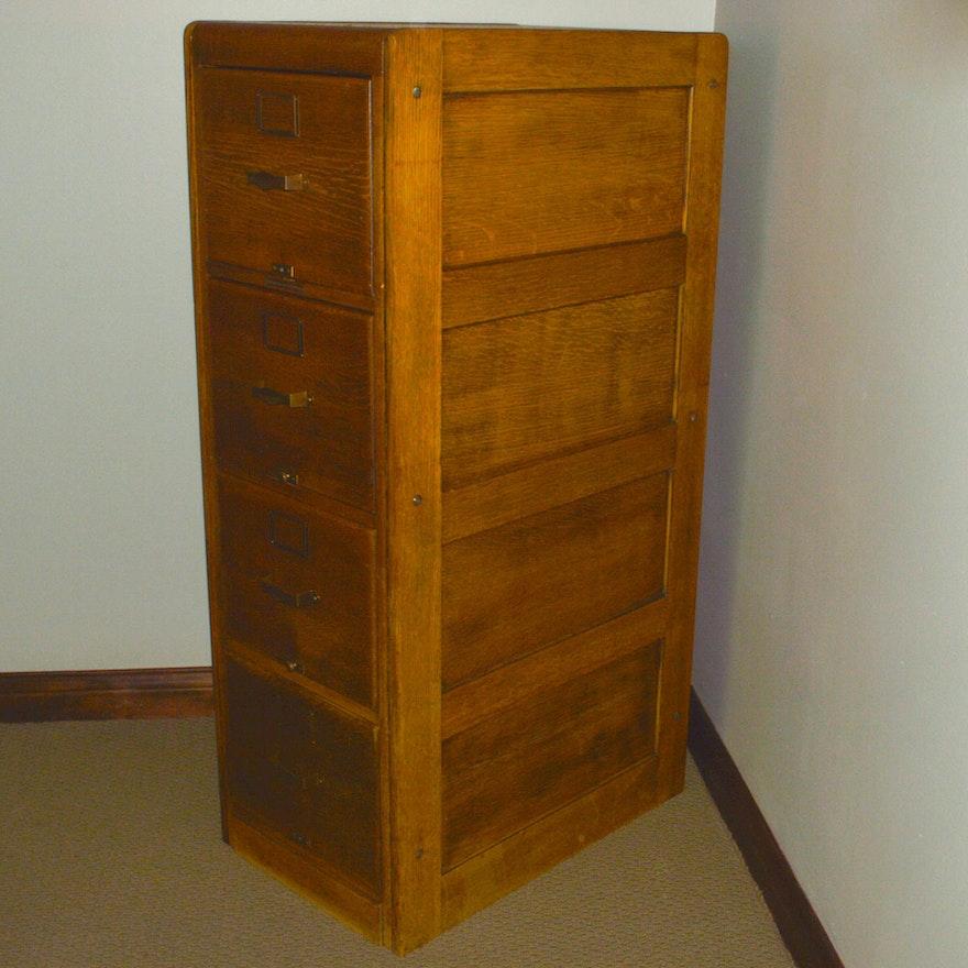 Vintage Oak Four-Drawer File Cabinet   EBTH
