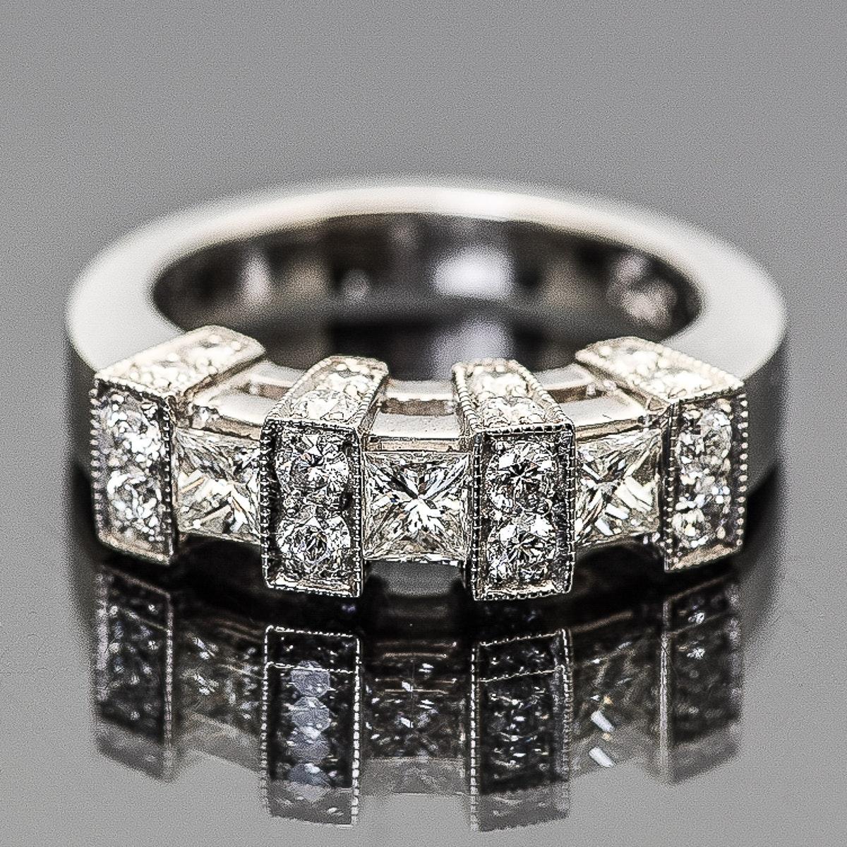 Platinum and 1.60 CTW Diamond Milgrain Ring