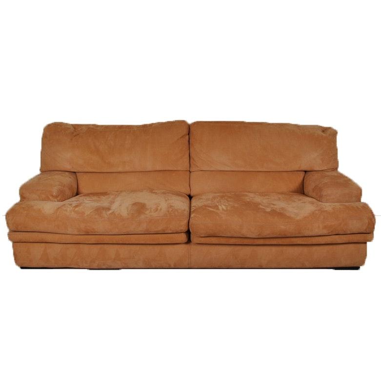 Roche Bobois Contemporary-Style Orange Suede Sofa : EBTH