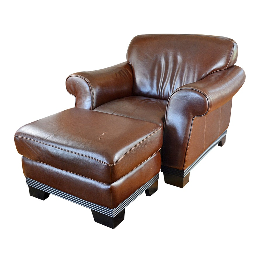 Contemporary Italian Leather Club Chair And Ottoman By Divani