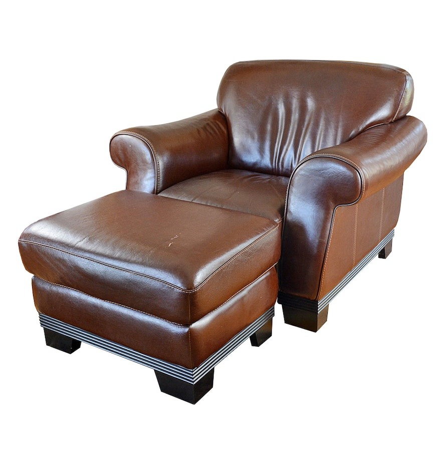 Contemporary Italian Leather Club Chair And Ottoman By