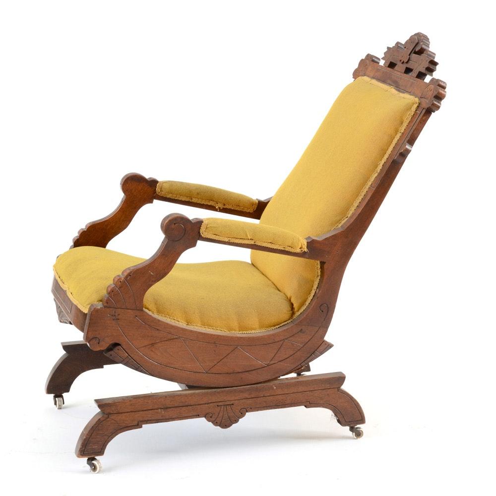 Antique Victorian Eastlake Walnut Platform Rocker Chair Ebth