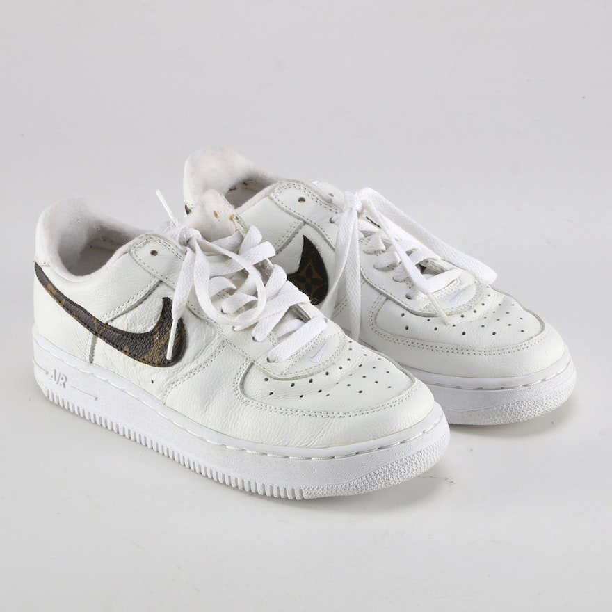 c4d903d0b9743 Pair of Youth Nike Air Force 1 Shoes with Louis Vuitton Swoosh | EBTH
