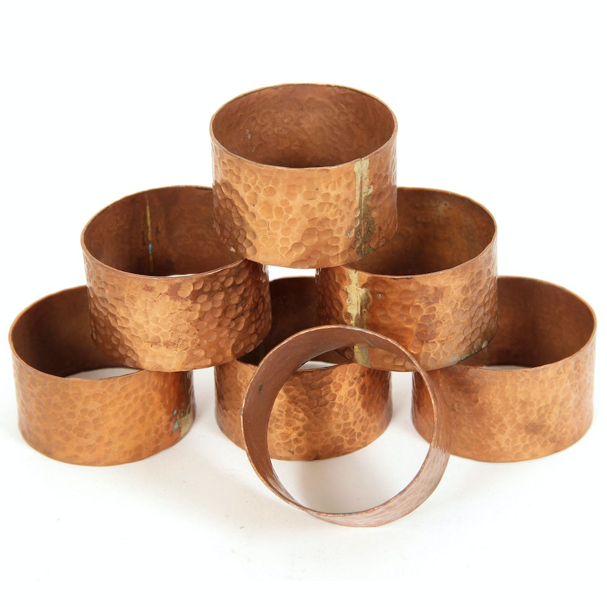 Set Of Hand Hammered Copper Napkin Rings