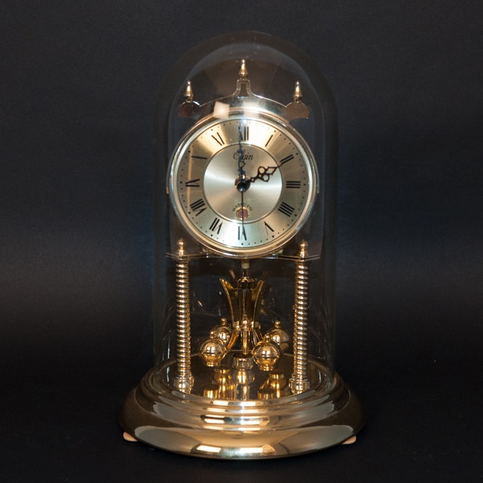 Charmant Elgin Table Clock With Glass Dome ...