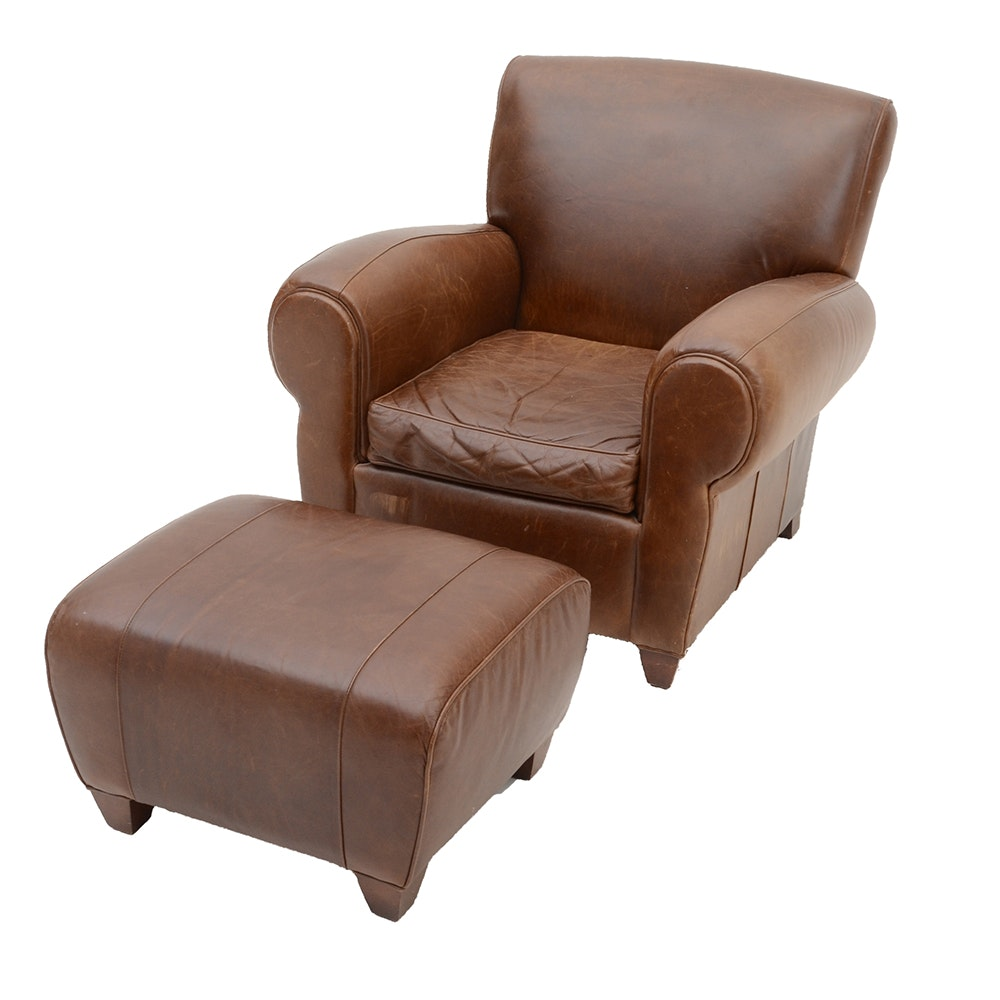Exceptionnel Pottery Barn Mitchell Gold And Bob Williams Brown Leather Chair And Foot  Rest ...
