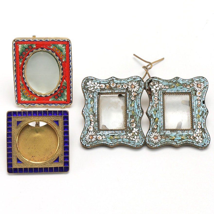 Assemblage of Enamel and Micro Mosaic Picture Frames : EBTH