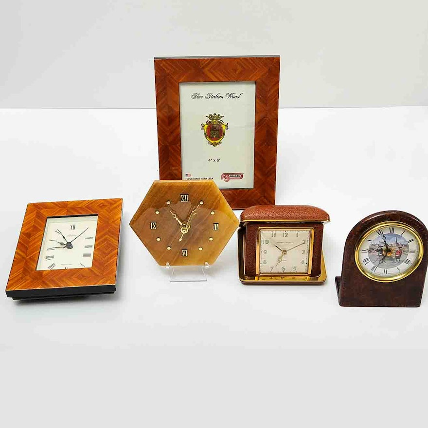 Collection Of Vintage Desk Clocks And Frame Ebth