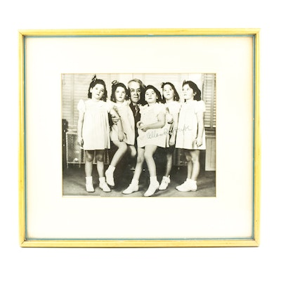 Framed Press Photograph of the Dionne Quintuplets, Signed by Dr. Dafoe