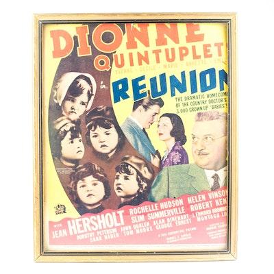 """Vintage Dionne Quintuplets Framed Color """"Reunion"""" Movie Promo Poster"""