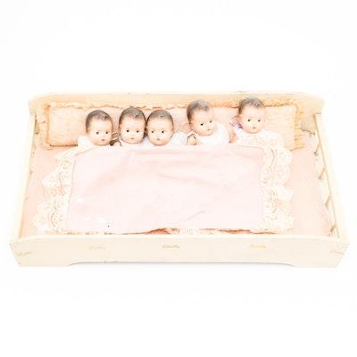 Vintage Madame Alexander Dionne Quintuplet Composition Baby Dolls With Crib