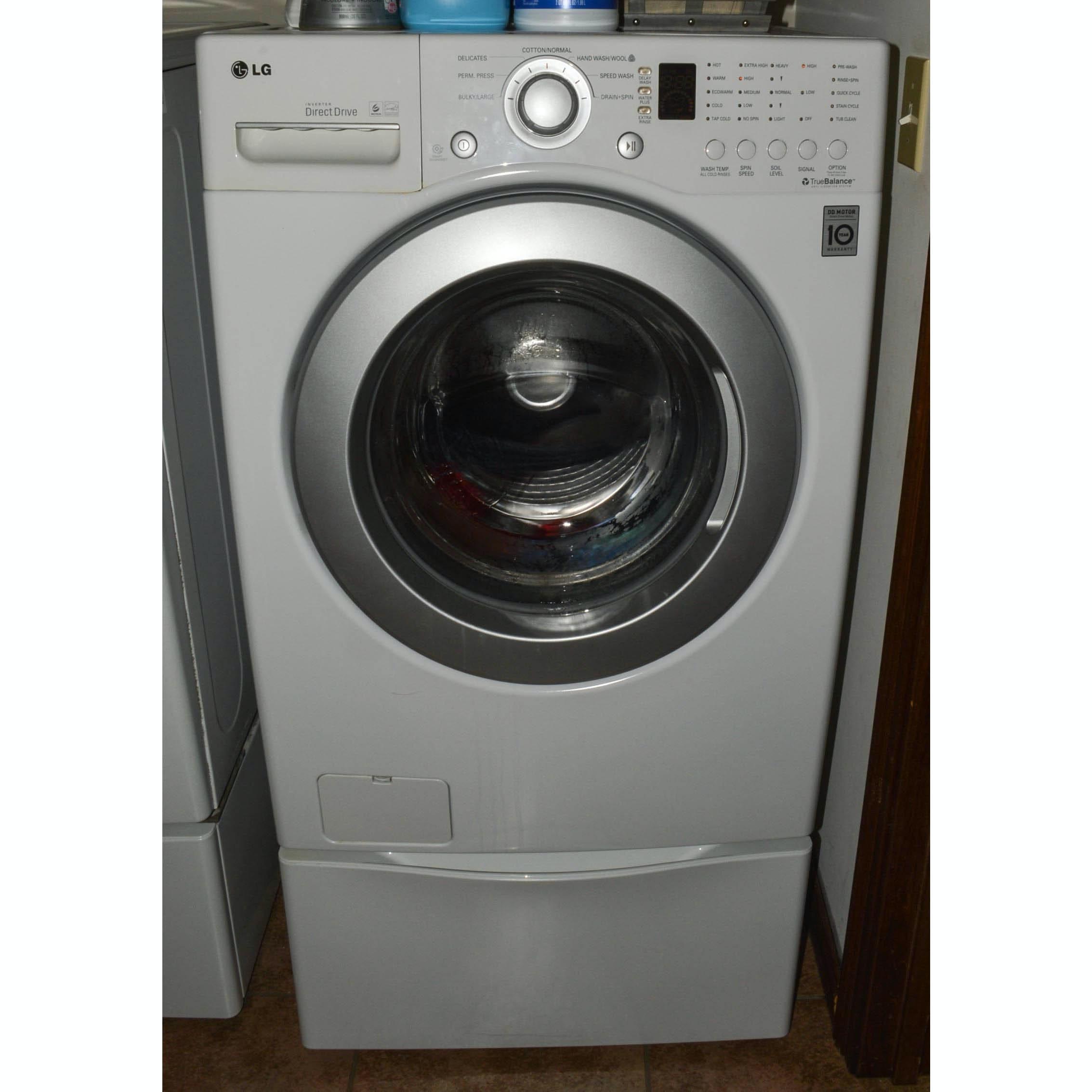lg inverter direct drive front load washer with drawer pedestal