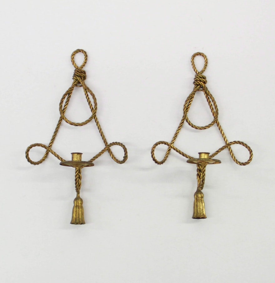 Gold Tone Candle Wall Sconces : Gold Tone Rope Wall Sconces : EBTH
