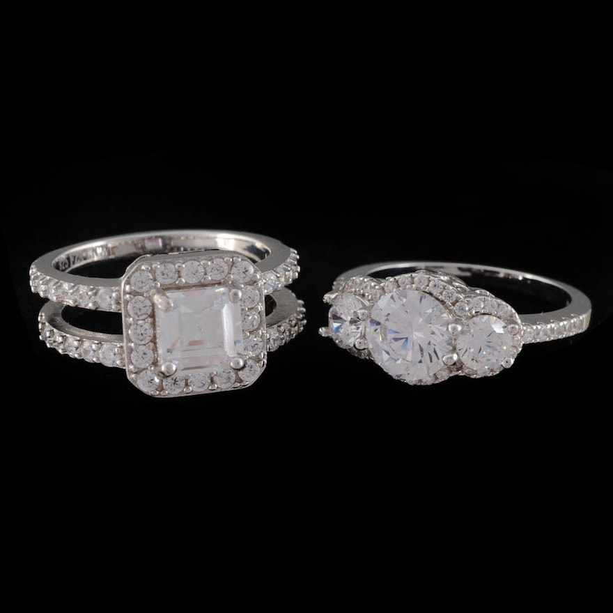 Two Sterling Silver and Cubic Zirconium Rings