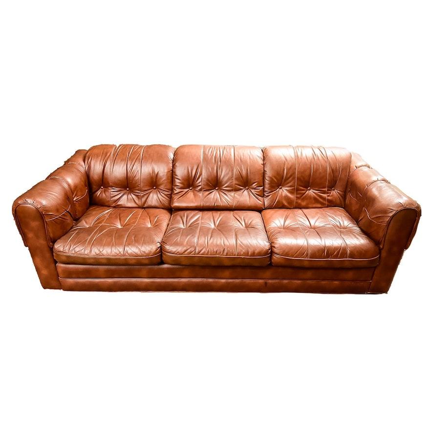 Vintage Tufted Leather-Look Sofa