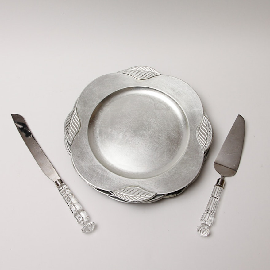 Four Silver Lacquered Plastic Chargers and Crystal Handled Serving ...